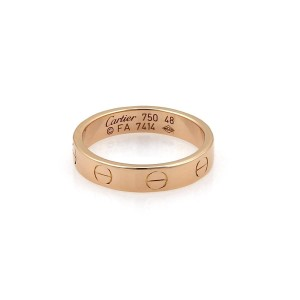 Cartier Mini Love 18k Rose Gold 3.5mm Band Ring Size 48-US 4.5 w/Cert
