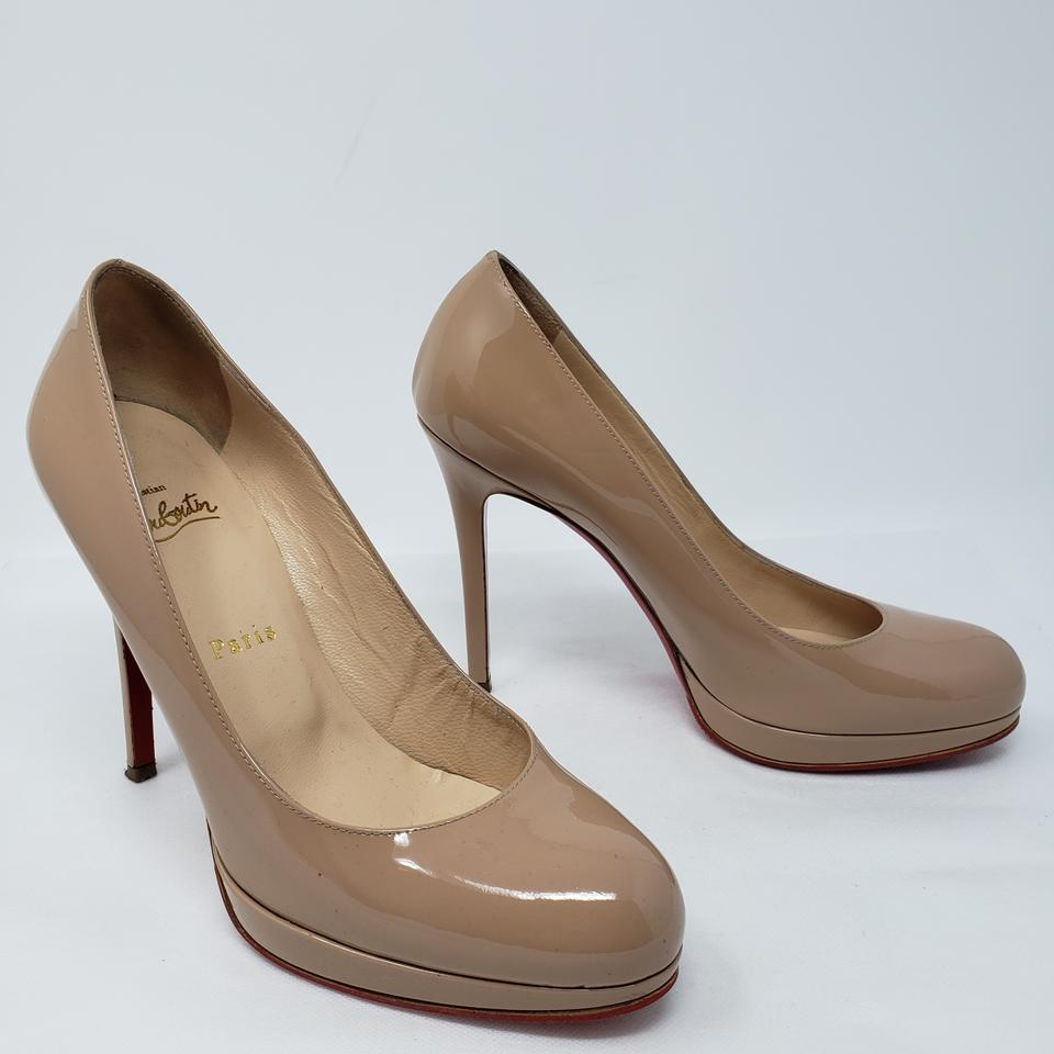 uk availability 192b7 aa836 Christian Louboutin Beige Tan Patent Leather New Simple 120 Pumps Size EU  38.5 (Approx. US 8.5) Regular (M, B) 36% off retail