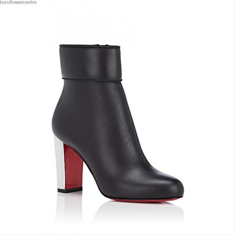 reputable site 90db2 579f3 Christian Louboutin Black Moulamax 85 Calf Silver Disco Ball Stiletto Heel  Ankle Boots/Booties Size EU 36 (Approx. US 6) Regular (M, B)
