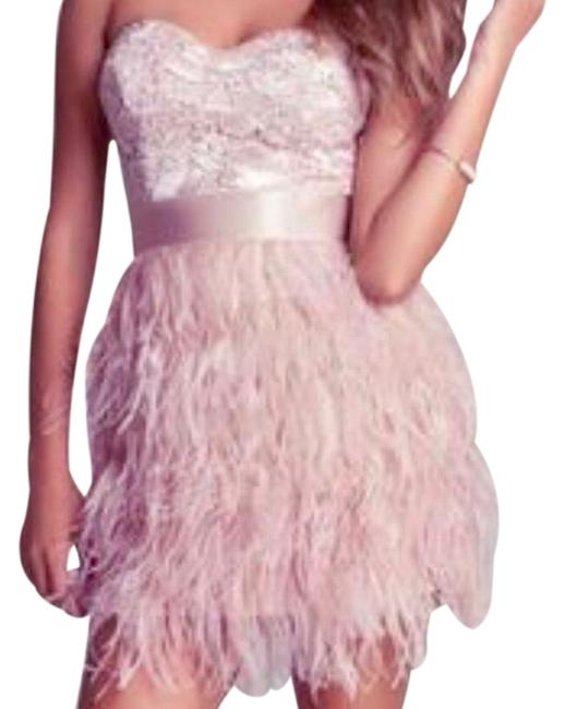 Item - Rose Gold Isas Feather Short Night Out Dress Size OS (one size)