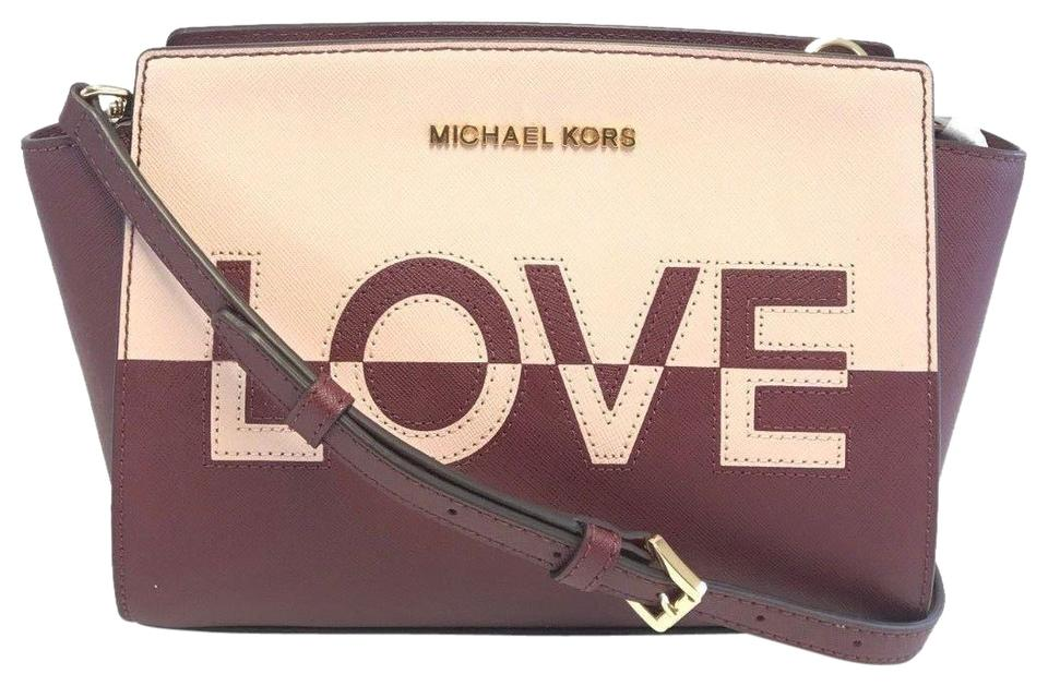 b72524b1ab94 Michael Kors Selma Medium Love Print Multicolor Red Pink Leather Messenger  Bag