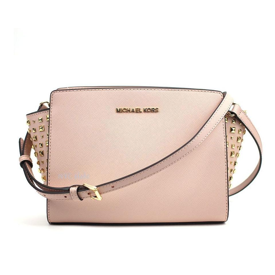 2a9b996a8f82 Michael Kors Selma Medium Stud Print Pink Leather Messenger Bag ...