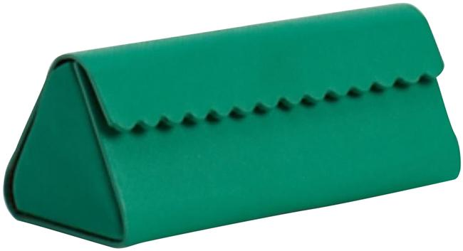 Item - Green Scallop Edge Collapsible Eyeglass Case