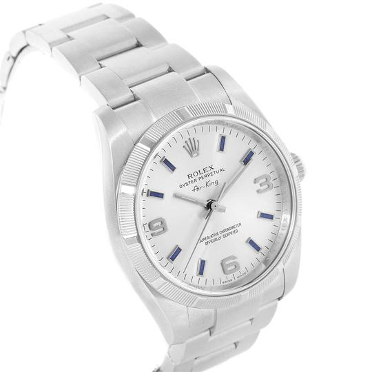 Rolex Rolex Air King Silver Dial Blue Markers Steel Mens Watch 114210