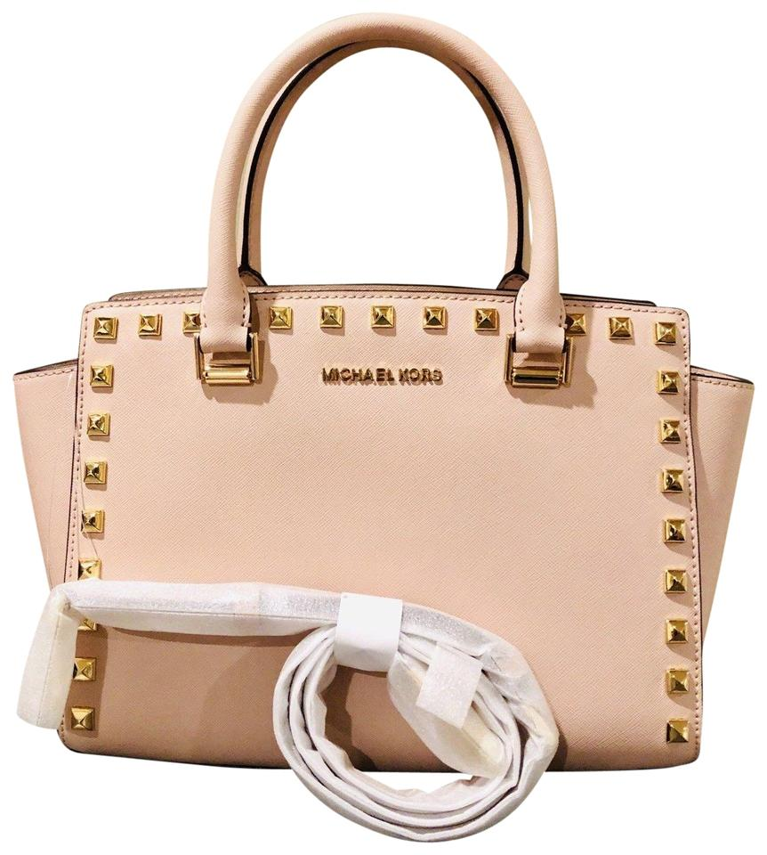 dbc1c8ac8105 Michael Kors Saffiano Leather Mk Signature Leather Selma Selma Satchel in  pink gold Image 0 ...
