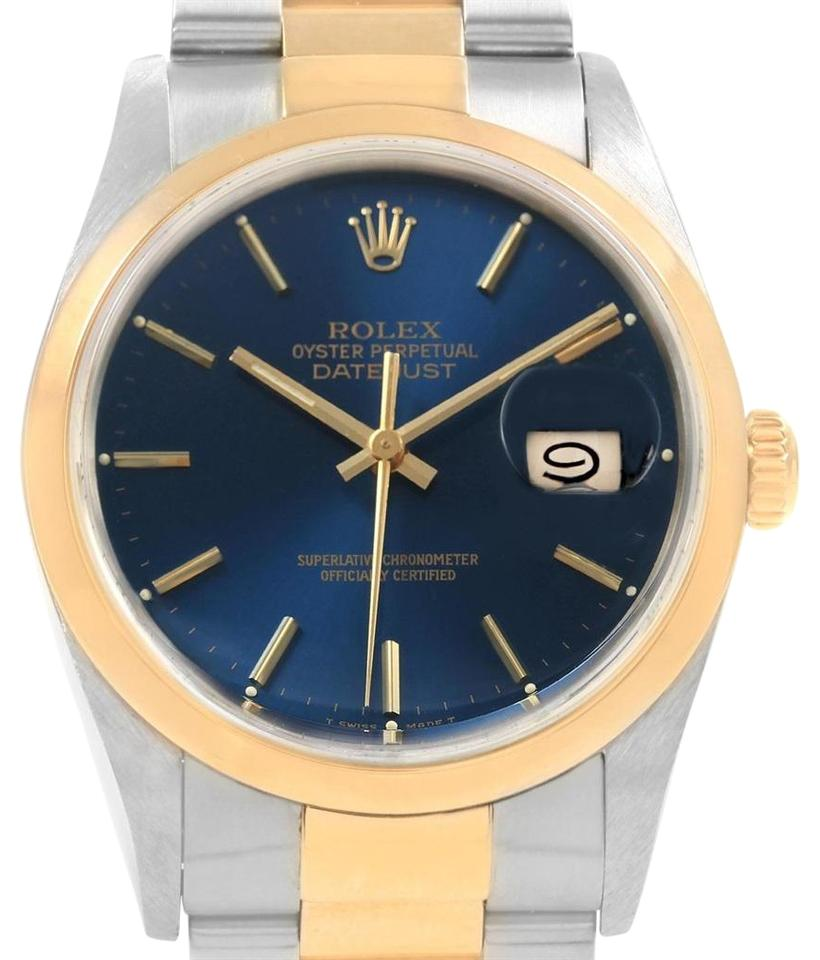 9e042eedc8d Rolex Rolex Datejust 36 Steel Yellow Gold Blue Dial Mens Watch 16203 Image  0 ...