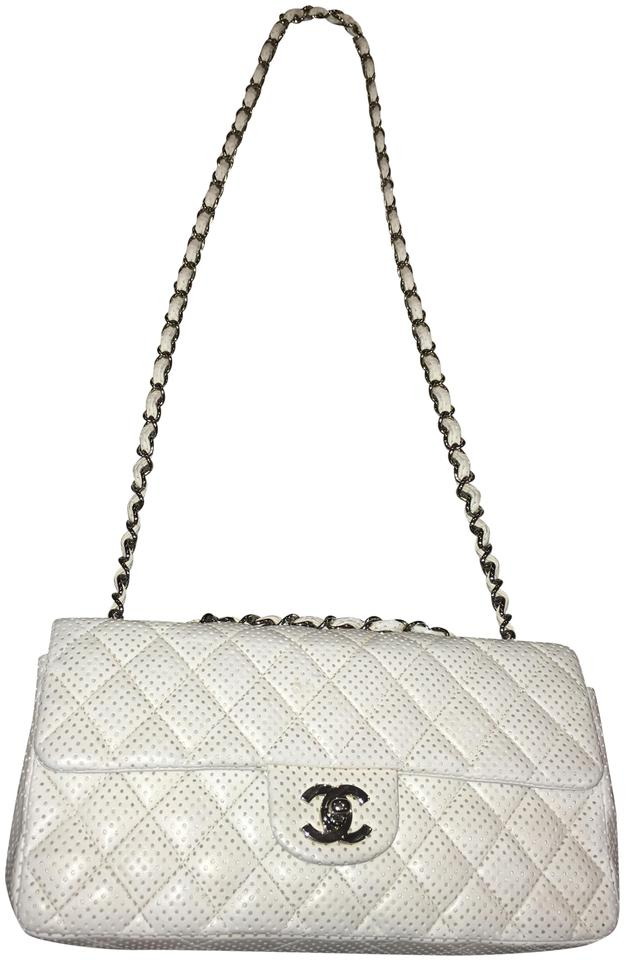 63986cf93ea8 Chanel Classic Flap Perforated E W White Lambskin Leather Shoulder ...
