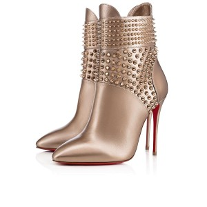 Christian Louboutin Stiletto Lace Hongroise Spike gold Boots