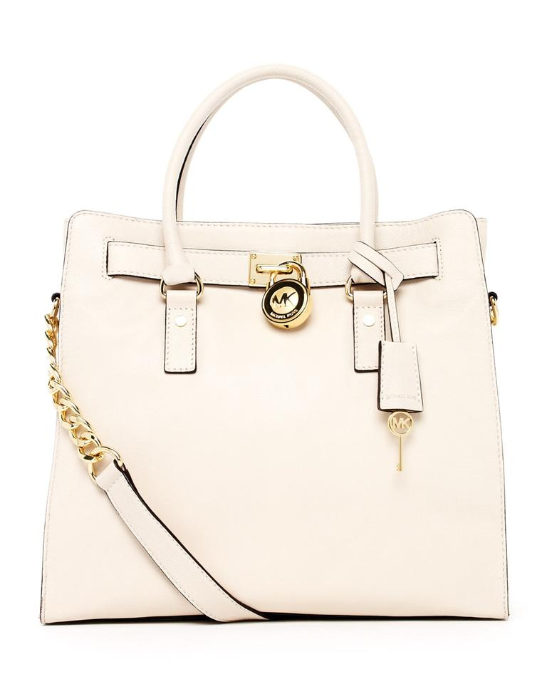 8057b6cf0d3e Michael Kors Hamilton Travel Large New with Tags Ecru Cream White/Gold  Hardware Saffiano Leather Tote