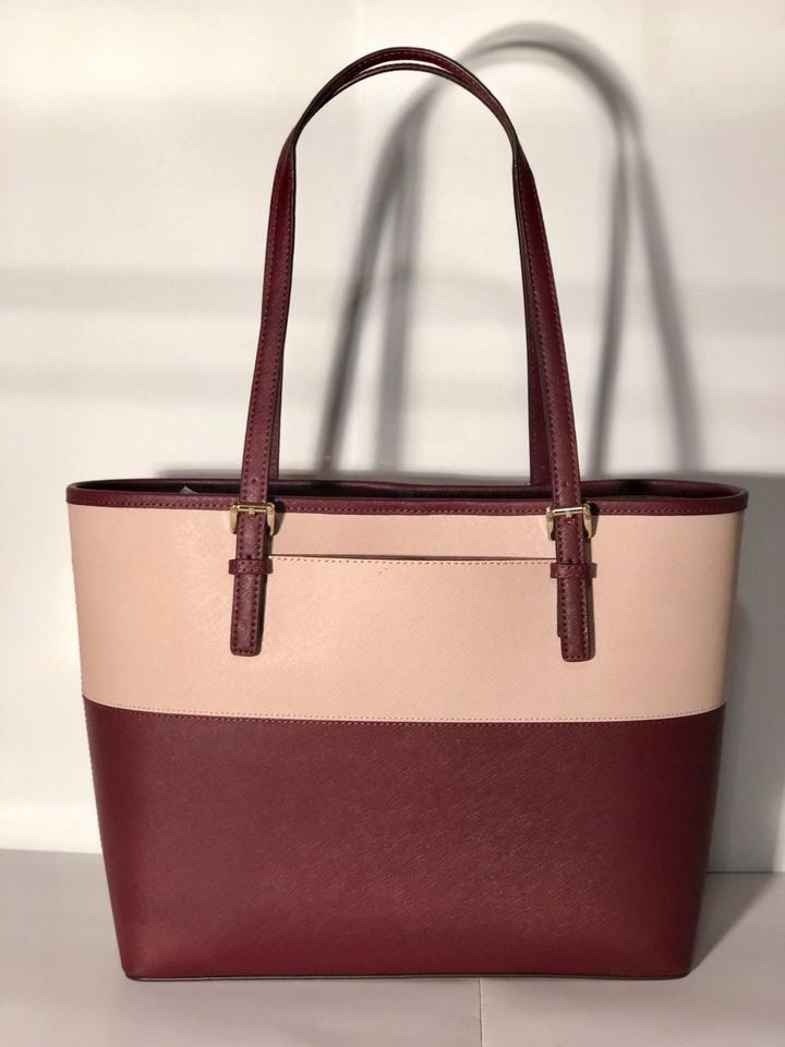 a6fc91f31a9e Michael Kors Jet Set Travel Medium Carryall Multicolor Pink Red Saffiano  Leather Tote - Tradesy