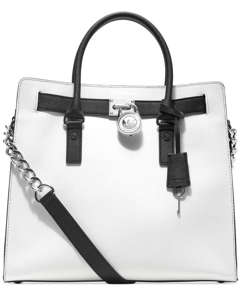 d2305d492d23 Michael Kors Hamilton Large New with Tags Optic White Black/Silver Hardware  Saffiano Leather Tote