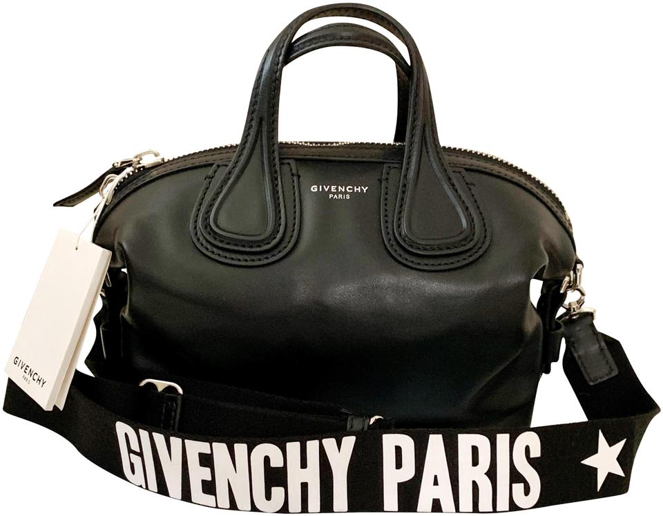 65d0eb68fd80 Givenchy Micro Nightingale with Logo Strap Black Leather Satchel ...