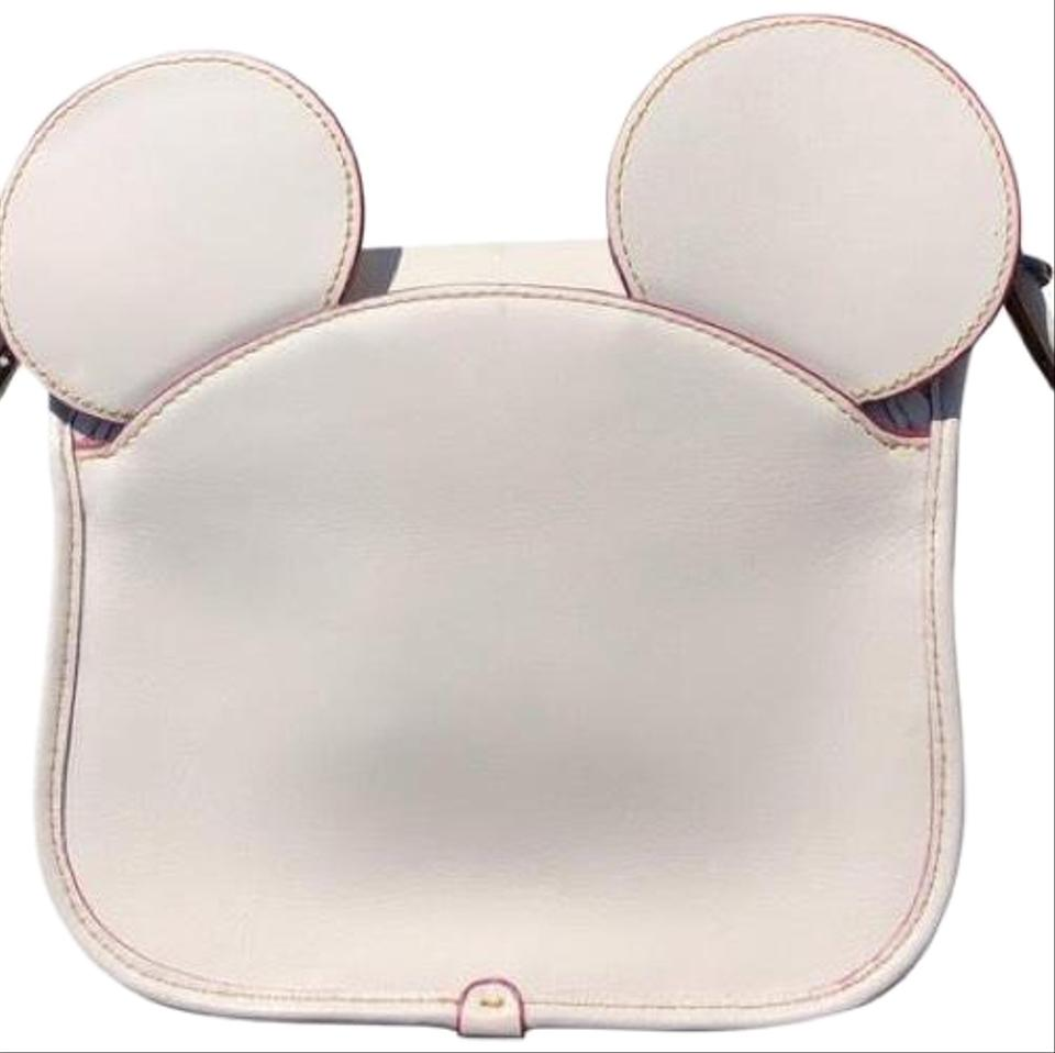 efc5e723 Coach Patricia Saddle Mickey In Glove Calf Leather with Ears Shoulder Chalk  Cross Body Bag 59% off retail