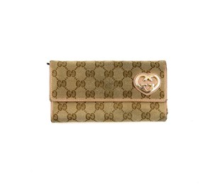 Gucci Vintage GG Monogram Canvas Leather Long Clutch Wallet Italy