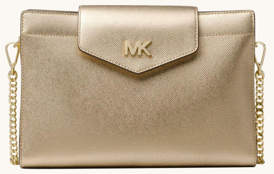 790053072ab1 Michael Kors Large Metallic Crossgrain Clutch Gold Leather Cross ...