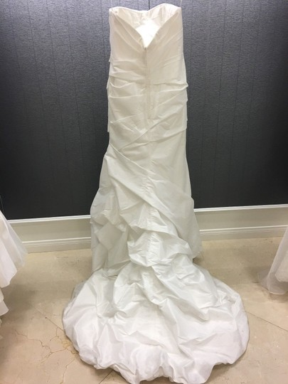 Allure Bridals Diamond White Taffeta Pleated Strapless Gown Traditional Wedding Dress Size 12 (L) Image 1