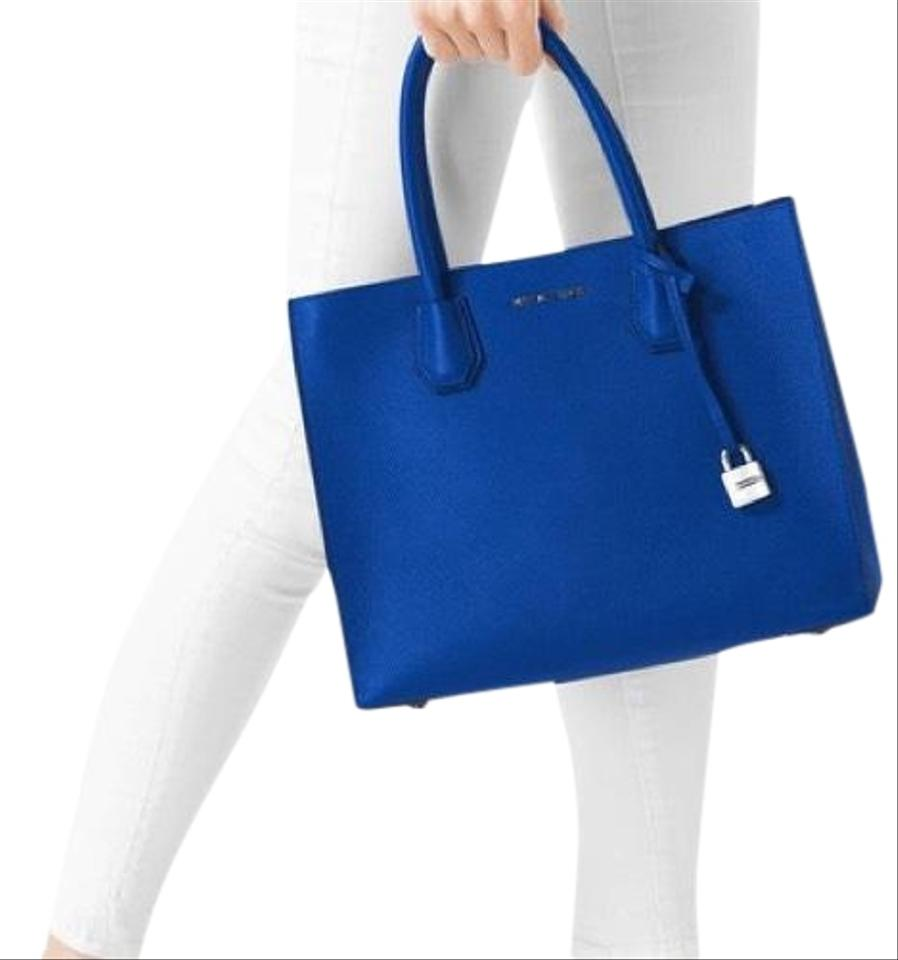 f8a9cd428ea4 Michael Kors Mercer Leather Large Convertible Electric Blue Tote ...