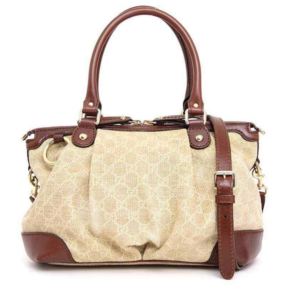 62063c0e29cf Gucci Sukey Diamante Monogram Medium Top Handle 2way 234024 Beige X Brown Canvas  Leather Shoulder Bag