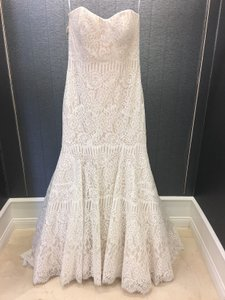 Allure Bridals Champagne Lace Strapless Unique Mermaid Feminine Wedding Dress Size 12 (L)
