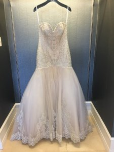 Allure Bridals Champagne/Silver Tulle Strapless Embellished Mermaid Gown 9325 Sexy Wedding Dress Size 12 (L)