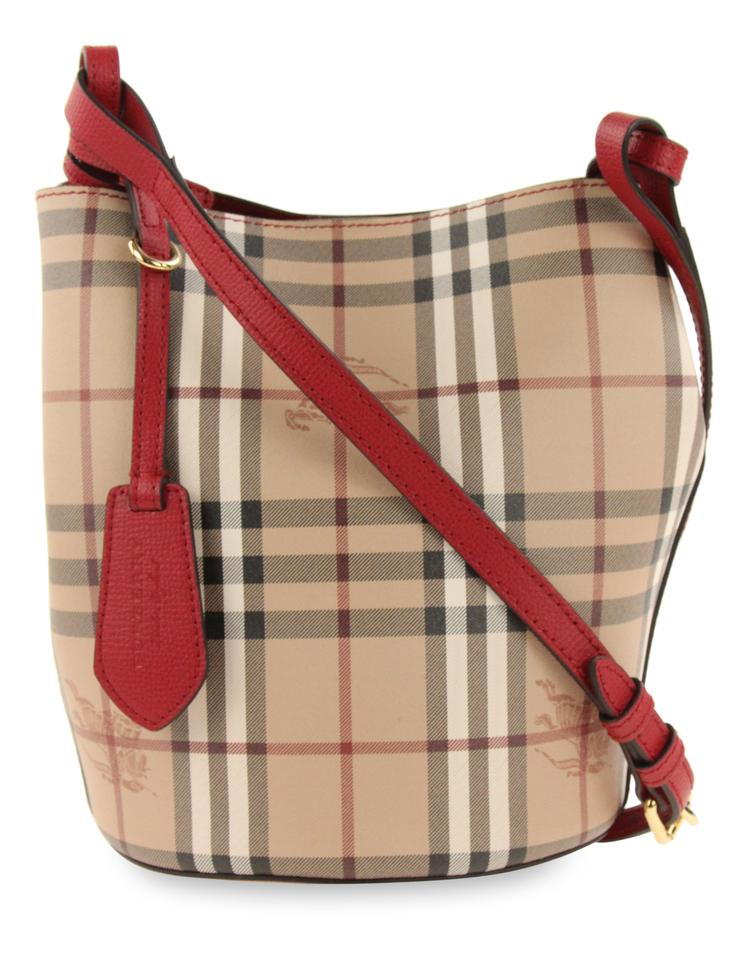 2097015ada61 Burberry Small Lorne Bucket Poppy Red Coated Canvas Cross Body Bag ...