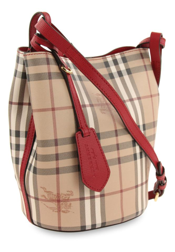 51f49a7a2de0 Burberry Small Lorne Bucket Poppy Red Coated Canvas Cross Body Bag - Tradesy