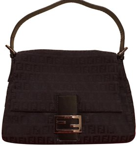Fendi Vintage Large Mama Baguette Black Zucchino Canvas In Leather Strap.  Hardware. Shoulder Bag fbbd0b91002a4