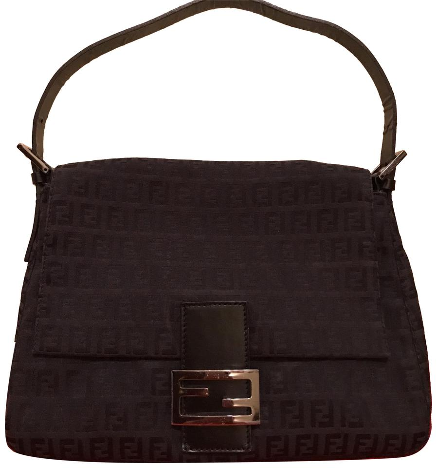 12c387bcf54a Fendi Vintage Large Mama Baguette Black Zucchino Canvas In Leather ...