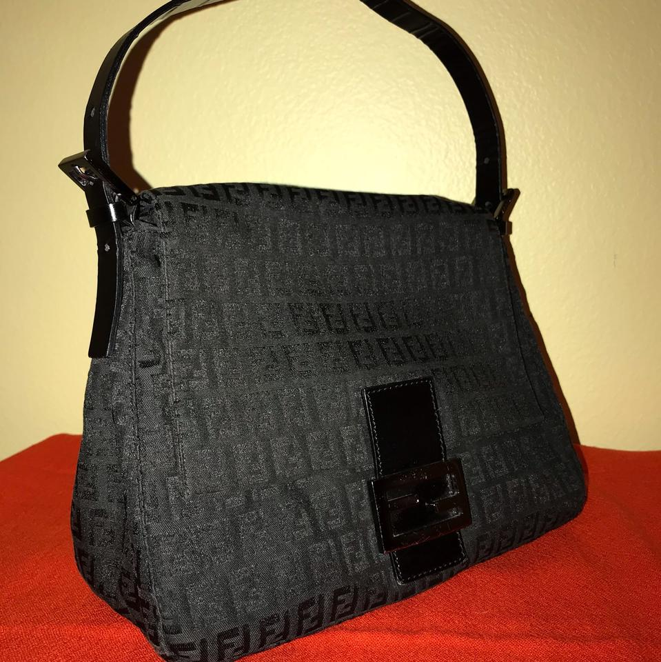 f61ecb5645ac Fendi Vintage Large Mama Baguette Black Zucchino Canvas In Leather Strap.  Hardware. Shoulder Bag
