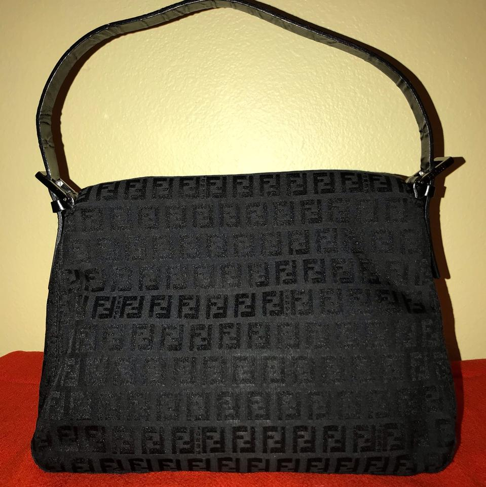 34e057388ee7 Fendi Vintage Large Mama Baguette Black Zucchino Canvas In Leather Strap.  Hardware. Shoulder Bag