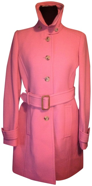 Item - Pink Italian Double Cloth Belted Wool Single Breasted Coat Size 8 (M)