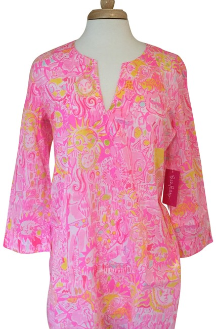 Item - Pink Yellow White Tiki Stand Cotton Beach Cover-up/Sarong Size 8 (M)