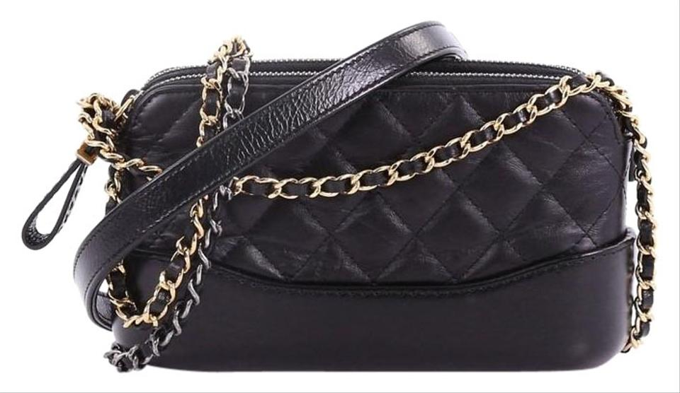 6f2d50d313 Chanel Gabrielle Clutch Double Zip with Chain Quilted Aged Calfskin Black  Leather Shoulder Bag