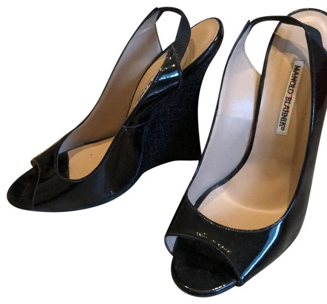 Item - Black Patent Open Toe Wedges with Raffia Wedge Pumps Size EU 39.5 (Approx. US 9.5) Regular (M, B)