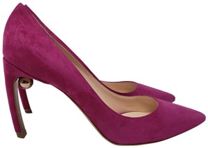Nicholas Kirkwood Pearl Gold Hardware Mira Pointed Toe Suede Pink Pumps