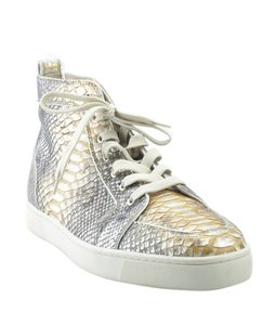 Christian Louboutin Sneakers Snakeskin Italy Silver-tone See Measurements Multi-Color Sandals