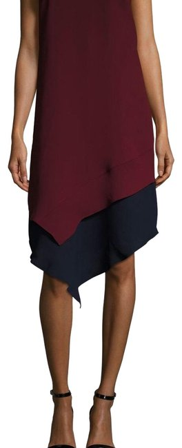 Item - Burgundy and Navy Giselle Mid-length Cocktail Dress Size 2 (XS)