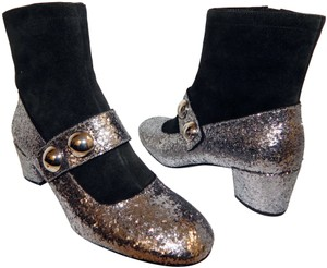 Marc Jacobs Glitter Suede Ankle Silver Black Boots