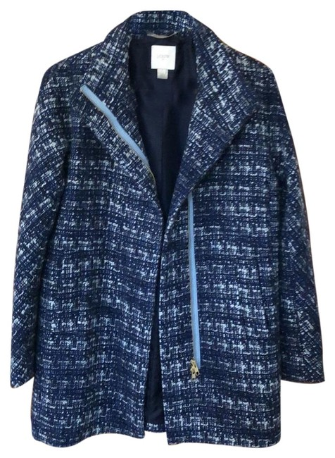 Item - Blue Black White Gold Cocoon Tweed Coat Jacket Size 4 (S)