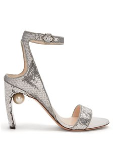 Nicholas Kirkwood Pearl Hardware Sequin Ankle Strap Lola Silver Pumps