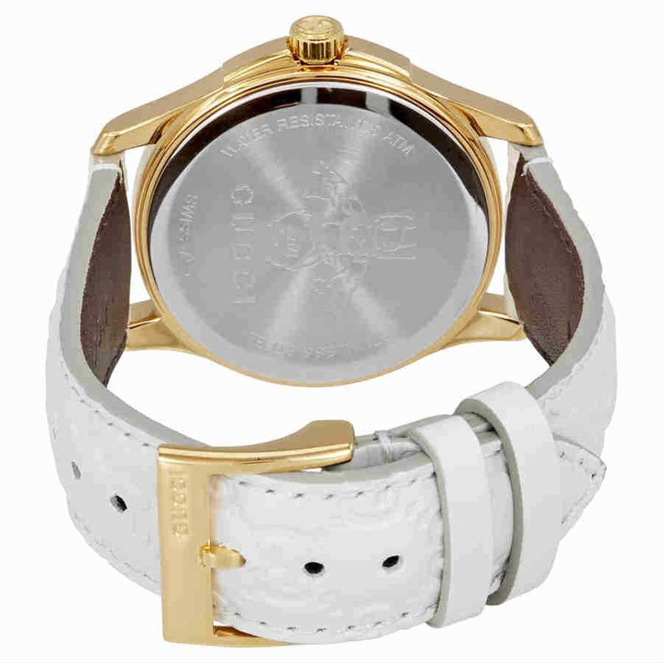 f5b1a244f0b Gucci White Gold Tone G-timeless Men s Leather Watch - Tradesy