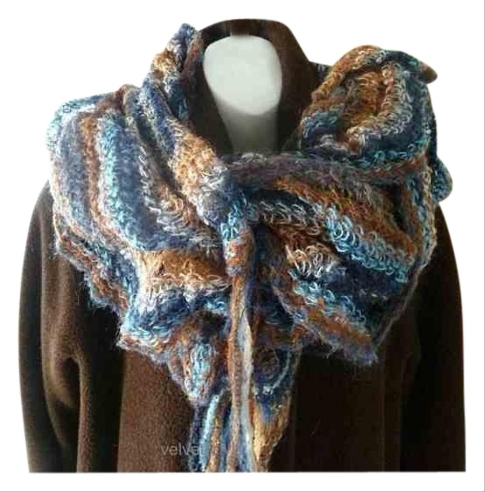 5f8812dc2c Missoni Blue Mohair Long Ruffled Scarf Wrap - Tradesy