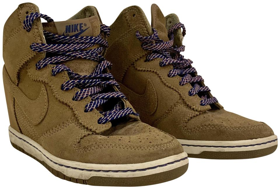 official photos 6c331 64146 Nike Brown Dunk Sky Hi Suede Wedge Sneakers