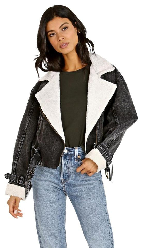 073eb8986e ASTR Black Jefferson Cropped Biker with Shearling Jacket Size 4 (S)