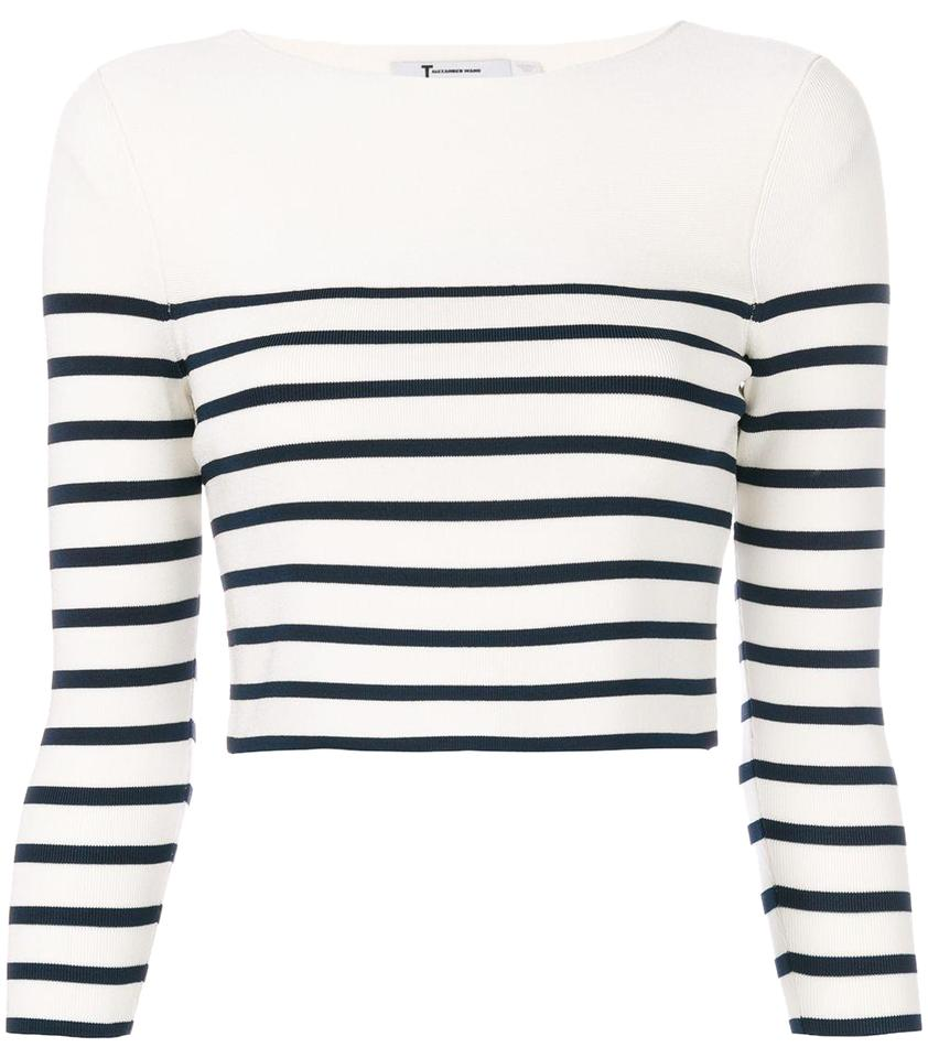 34cee4fd59f96 T by Alexander Wang 4k271012k7 Bone with Navy Stripe Sweater - Tradesy