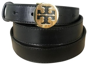 Tory Burch Tory Burch Black Leather Gold T Cutout Logo Buckle Belt SZ S Sale!