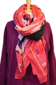 Chanel Chanel Pink Print Cotton/Silk Blend Scarf