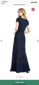 Adrianna Papell Navy Short Sleeve Beaded Blouson Gown--- 19191610 Formal Bridesmaid/Mob Dress Size 4 (S)
