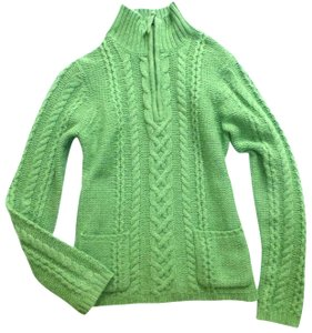 Boden Wool Cable Knit Zip Neck Pockets Sweater