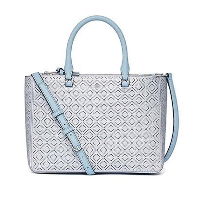 Tory Burch Robinson Perforated Metallic Small Multi Tote Soft Silver/Blue Leather Satchel Tory Burch Robinson Perforated Metallic Small Multi Tote Soft Silver/Blue Leather Satchel Image 1